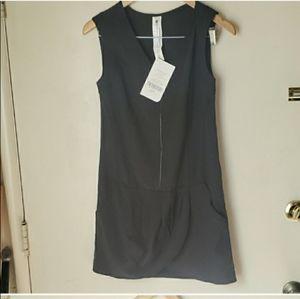 New Fabletics Adira Cover Up Zip Up Black Dress